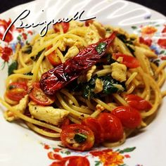 Cooking pasta with fresh basil