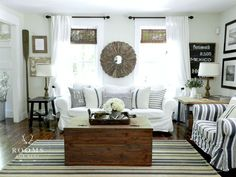 style for spare bedroom.Like striped pillows,blinds,chipped paint frame, mirror