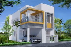 front elevation designs for duplex houses in india Front Elevation Designs, House Elevation, Bedroom House Plans, House Floor Plans, Small House Design, Modern House Design, West Facing House, Luxury Floor Plans, Beautiful Small Homes