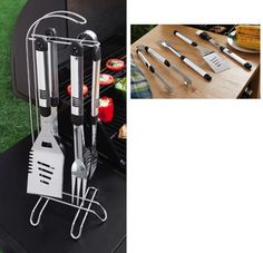 Stainless Steel Bbq Grilling Tool Set With Stand