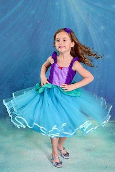 ARIEL vestido disfraz de Ariel vestido princesa Ariel para los niños y las niñas vacaciones equipo Ariel cumpleaños fiesta traje sirena 7/8 10/12