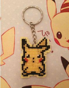 Pikachu Cross Stitch Keychain by CraftyGamerUK on Etsy