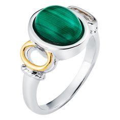 Boston Bay Diamonds 18k Gold and Sterling Silver 8x10mm Cabochon Oval-cut Malachite Ring