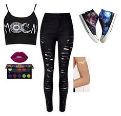 """""""To the Moon and Back"""" by bean118 on Polyvore featuring Boohoo, HVBAO, WithChic, Lime Crime, Urban Decay and LULUS"""