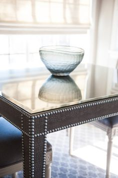 LIVING ROOM - Custom Faux Leather Wrapped Game Table; Global Views Glass Bowl; Liepold Design Group LLC