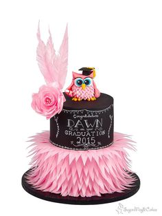 Chalkboard and Wafer Feather Graduation Owl - Cake by SugarMagicCakes (Christine)
