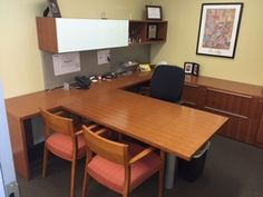 attractive used desk set with plenty of storage nice white front on the overhead - Modern Office Furniture Atlanta