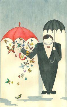 """""""Высокий небритый толстяк стоит посреди улицы, в левой руке у него большой черный зонт, в правой — маленький красный, под которым благодарно трепещет целое облако бабочек."""" Обжора-хохотун. Anastasia Kravchenko. https://vk.com/photo-26263517_354025360"""