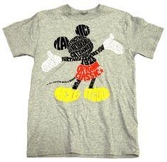 Disney Word Up Mickey Adult Tee, Grey