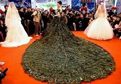 $1.5 million Peacock Feather Wedding Dress by Vera Wang