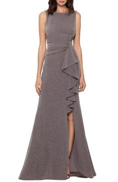 Betsy & Adam Ruffle Front Metallic Knit Gown | Nordstrom Mob Dresses, Dresses For Work, Formal Dresses, Bride Dresses, Formal Wear, One Shoulder Gown, A Line Gown, Gowns Online, Glitz And Glam