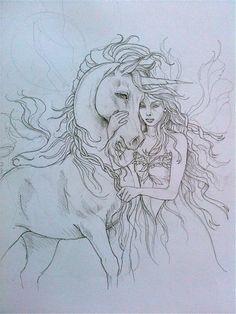 Unicorn Fantasy Myth Mythical Mystical Legend Licorne Enchantment Coloring pages colouring adult detailed advanced printable Kleuren voor volwassenen coloriage pour adulte anti-stress kleurplaat voor volwassenen