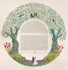 One of a kind ketubahs - Personal Landscapes - Custom Ketubah Wedding Mood Board, Wedding Art, Dream Wedding, Wedding Stuff, Wedding Invitation Cards, Invites, Traditional Paintings, Graphic Design Typography, Indian Art