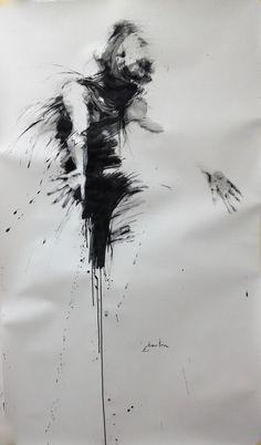 danse, l'envol (Peinture),  89x150 cm par ewah encre de chine et fusain sur papier canson (encadrement verre synthétique + 60€)