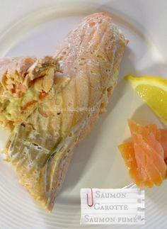 rouleaux de saumon farci au fromage blanc, saumon fumé, zestes de citron et carotte à la vapeur