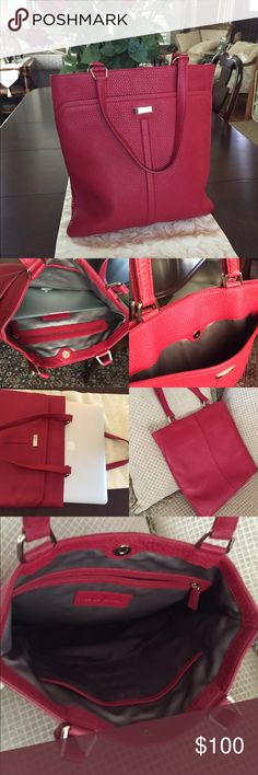 "Cole Haan leather slim tote Cole Haan Gorgeous red pebble leather slim  tote in great condition. No stains or scuffs. Used a few times. Fits 13""MacBook perfectly as shown. Approx 9.5"" handle drop. Cole Haan Bags"