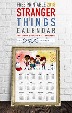 It's time for a new Free Printable 2018 Stranger Things Calendar in Celebration of the return of the HOT HIT Series! So come on over and print one! At A Glance Calendar, Calendar 2018, Day Planners, 2018 Planner, Diy School Supplies, Stranger Things Season, Free Graphics, Art For Art Sake, Planner Organization