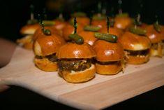 Retro Style Mini Burgers With Truffle Aioli Cheddar And Onion Straws Garnished