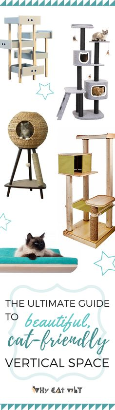 Cat trees don't have to be gaudy and monstrous. Here are a few of our favorite picks that add beauty, as well as functionality, to your cat-happy home. #cats #cattree #catfurniture