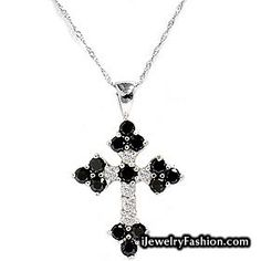 1.70CT Black & White Diamond Cross Pendant White Gold #Diamond Necklace #fashion #style #shopping - Fashion Jewelry - http://ijewelryfashion.com/1-70ct-black-white-diamond-cross-pendant-white-gold