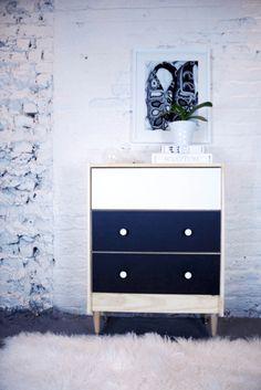 IKEA Rast PANYL white black. Pre-made custome-sized peel & stick colored contact paper for IKEA.