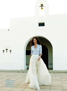 Eugenia Silva in a denim shirt [Source: Conde Nast Traveler ES, Jun 2012]