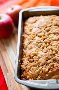 Apple Pie Bread This bread is going down in history for a handful of reasons: The peeling of apples required for this recipe caused my sharp knife to take a very large chunk of flesh from my thumb, resulting in blood loss, tears, my four-year-old bel Bread Machine Recipes, Easy Bread Recipes, Apple Pie Recipes, Apple Desserts, Baking Recipes, Dessert Recipes, Quick Bread, Delicious Recipes, Top Recipes