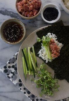 Spicy Tuna Hand Rolls by Adrianna Adarme, pbs.org #Sushi #Tuna #Hand_Roll