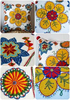 Embroidery Pillow Flowers Scandinavian Sweden