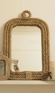 rope mirror, for Casey's nautical room. Rope Mirror, Rope Frame, Driftwood Mirror, Diy Mirror, Mirror Ideas, Sunburst Mirror, Mirror Bathroom, Downstairs Bathroom, Rope Crafts