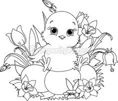 easter chick newborn chick sitting on easter eggs coloring page