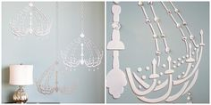 Annie Sloan Unfolded - Chalk Paint Ideas - The Palette Blog - Dressing Room Vintage Chandelier Wall Stencils for DIY Decor in Girls Room http://www.royaldesignstudio.com/products/dressing-room-chandelier-bari-j-stencil