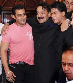 Salman Khan and Shah Rukh Khan with Baba Siddiqui #Bollywood