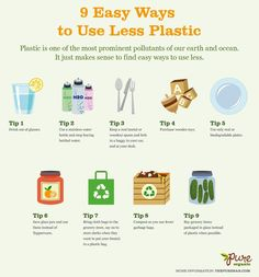 9 easy ways to use less #plastic.   Here's an excellent list of 9 easy ways to decrease how much plastic you use in everyday life.