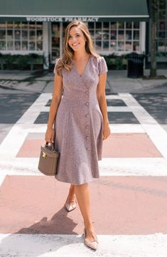 A classic seasonal look, this tweed dress is tailored with a surplice-style front featuring an off-center column of fabric-covered buttons and an A-line skirt that flares and drapes perfectly while hiding a pair of convenient pockets in the seams. Casual Frocks, Casual Skirt Outfits, Modest Outfits, Stylish Outfits, Casual Dresses, Short Dresses, Fashion Dresses, Dresses For Teens, Simple Dresses