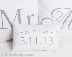 Mr and Mrs Pillow Covers with Mini Date Pillow Grey and White Hand Painted Made in Canada