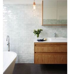 For me pale mint green is the new white! Pinterest #timber #subway #bathroom #handmade