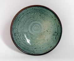 """Item #400 (sold) at Violettendencies - Harding Black Bowl 1959 - Texas red clay bowl with rare green copper-reduction oil-spot glaze thrown by American Living Treasure Harding Black at the height of his career... 6-1/2"""" wide, 2"""" deep, well marked and in mint condition. He has been described as a walking encyclopedia of glaze chemistries, with spectacular revival formulations of ancient Chinese Chun and celadon glazes just a couple of hallmarks in a long and varied career."""
