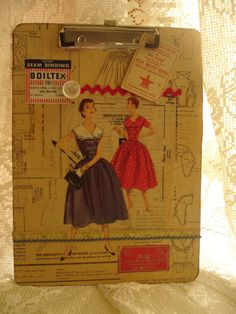 decopague this onto sewing table.  get patterns from salvation army.