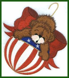 Threadsketches' Bearly Christmas, Christmas embroidery designs, bear ornament