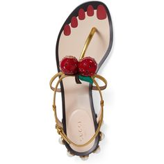 Gucci Hatsumomo Cherry T-Strap Sandal (1,275 CAD) ❤ liked on Polyvore featuring shoes, sandals, leather shoes, studded sandals, gucci shoes, metallic leather sandals and leather strap sandals