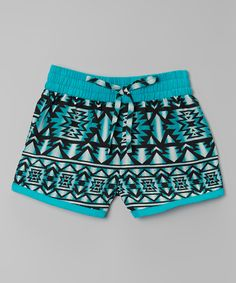 Look what I found on #zulily! Real Love Aqua Geometric Shorts - Girls by Real Love #zulilyfinds