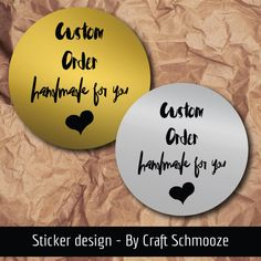 """Check out Gold or silver """"Custom order - handmade for you"""" labels,  business stickers on craftschmooze"""