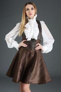 PARIS ALTERNATIF J030095 brown Jupe serre taille à bretelles robe marron rayé steampunk navigateur