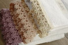 Crochet edging on bath towels - pretty