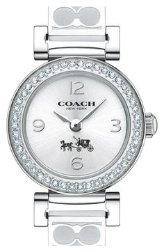 COACH+'Madison+Fashion'+Crystal+Bezel+Logo+Etched+Bangle+Watch,+24mm+available+at+#Nordstrom
