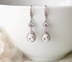 Wedding Jewelry Wedding Earrings Bridal Jewelry Bridal Earrings Dangle Silver Luxury Cubic Zirconia Drop Earrings by DreamIslandJewellery on Etsy
