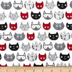 Timeless Treasures Cat Faces Grey from @fabricdotcom  From Timeless Treasures, this cotton print is perfect for quilting, apparel and home decor accents. Colors include red, shades of grey, white, and black.