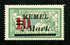 As one can imagine, stamp issues for Memel offer a copious number of overprints and surcharges on German and French stamps, as well as a variety of Lithuanian occupation issues. What fun! ;-)  That, of course, was not the end of the history of Memel.  On March 23, 1939, Lithuania was forced by ultimatum to return Memelland to the Third Reich.  At the end of WW II, the lands were returned to Lithuania, but this time as a member of the U.S.S.R.  1922 Scott 97 10m on 2m on 45c green & blue…