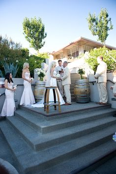 Sbragia Family Vineyards || Ceremony on the stairs in front of the fountain. #milestoneeventsgroup #sbragiafamilyvineyards #bethbehlerphotography